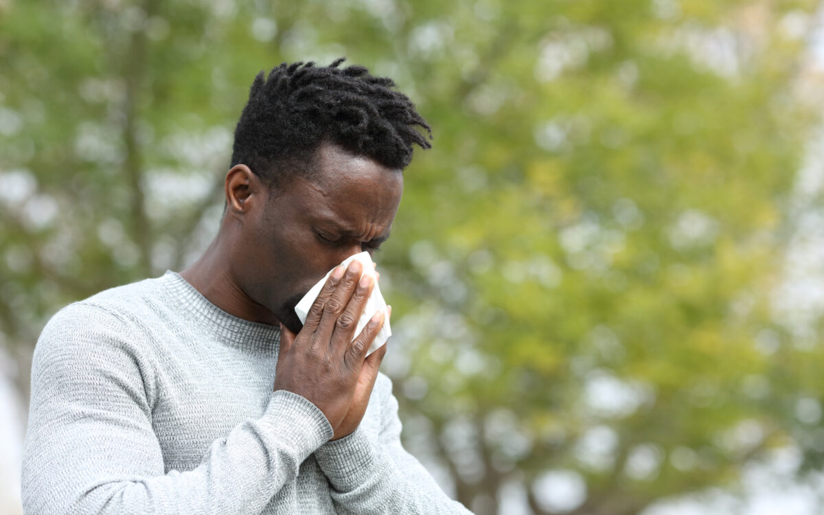 Man with sinus cold